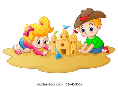 Vector illustration of Little boy and girl making sandcastle at beach