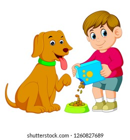 vector illustration of a little boy is giving food for his big brown dog
