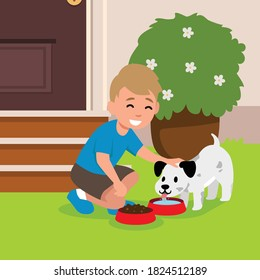 vector illustration of a little boy is giving food for his little white dog on a bowl