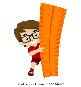 Vector Illustration of a Little Boy holding a Big Ruler