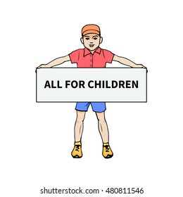 Vector illustration of a little boy holding a poster for all children. On an isolated white background. Hand-drawn colorful boy. The concept of children's clothing and shops.