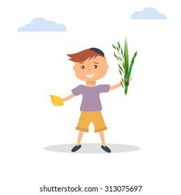Vector illustration of  little boy in Jewish  skullcap holding in hands  four species - palm, willow, myrtle , lemon - symbols of Jewish holiday Sukkot. Autumn holiday illustration.