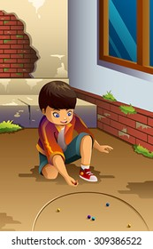 A vector illustration of little boy playing marbles outdoor