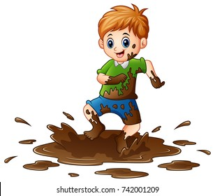 Vector illustration of Little boy playing in the mud