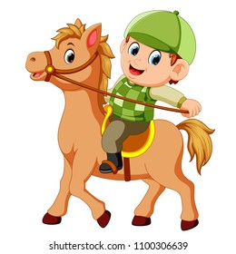 vector illustration of Little boy riding a pony horse