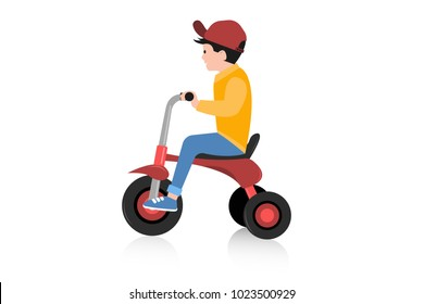 Vector illustration of little boy sitting and riding three wheel bicycle. Eps vector illustration