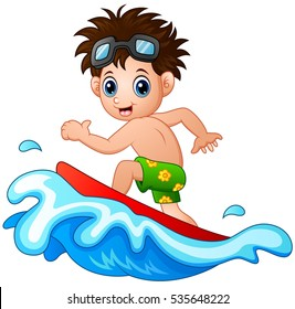 Vector illustration of Little boy surfing on a big wave