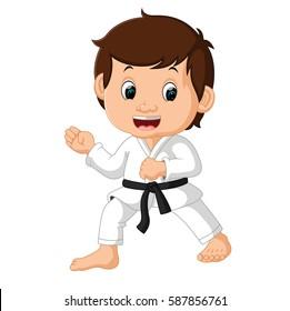 vector illustration of Little boy training karate