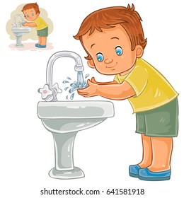 Vector illustration of a little boy washes his hands with water from a tap. Print, template, design element