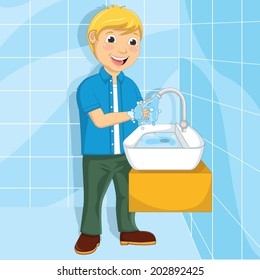 Vector Illustration Of A Little Boy Washing His Hands