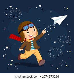 Vector illustration of little boy wearing helmet and dreams of becoming an aviator while flying a paper plane