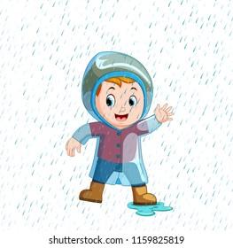 vector illustration of Little boy wearing blue raincoat and heavy rain