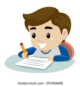 boy writing images stock photos vectors shutterstock rh shutterstock com child writing clipart black and white child writing on paper clipart
