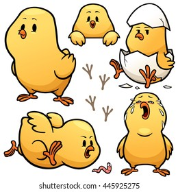 Vector illustration of Little Chick Character Set