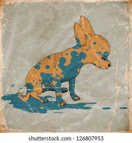 vector illustration little cute doggy. vintage style. eps10