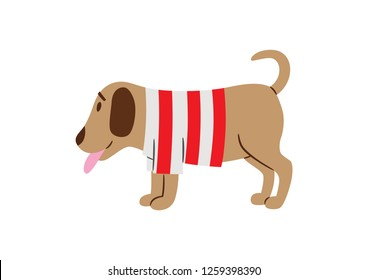 Vector illustration of a little doggy. Christmas ornament.