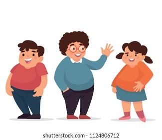 vector illustration little fat kids