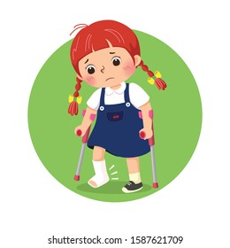 Vector illustration of little girl with broken leg bandage cast walking using crutches. Health Problems concept.