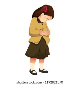 A vector illustration of Little Girl Buttoning Her Clothes
