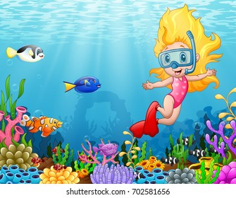 Vector illustration of Little girl diving in the sea