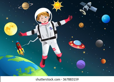 A vector illustration of little girl dressed up as astronaut