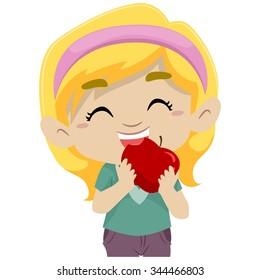 Vector Illustration of a Little Girl Eating Apple