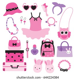 Vector illustration of little girl fashion accessories including handbags, hat, sunglasses, necklace, bracelet, backpack, slippers.