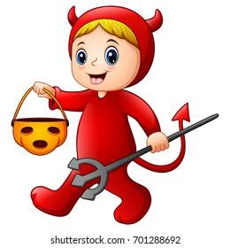 Vector illustration of Little girl in halloween red devil costume