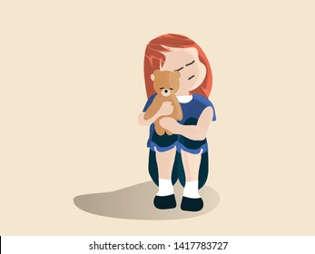 Vector illustration of a little girl hug her doll and cry or scare or sad or feel bad  or in trouble.Sitting on the floor.Concept of orphan kid.Image with noise and grain texture.
