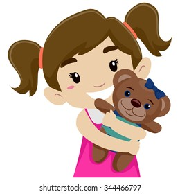 Vector Illustration of a Little Girl Hugging her Teddy Bear