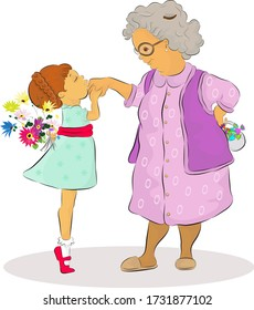 Vector illustration of a little girl kissing her senior grandmother's hand in Feast of Ramadan celebration. Girl is hiding a bunch of flowers, elder lady is hiding festive candies behind their backs.