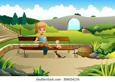 A vector illustration of little girl playing with cats in a park