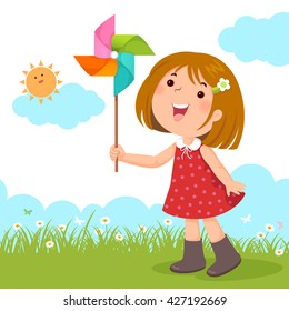 Vector illustration of little girl playing with a colorful windmill toy
