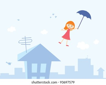 Vector illustration of little girl with umbrella is flying through cartoon town