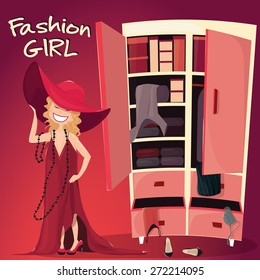 Vector Illustration of Little Girl with wardrobe full of clothes . Fashion Kid