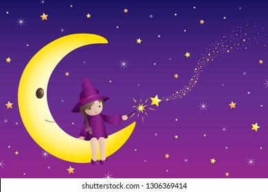 A vector illustration of Little Girl Wizard Sitting on a Half Moon