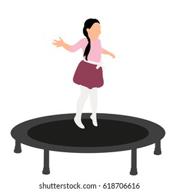Vector illustration of little girls jumping on trampoline, icons, concept of childhood