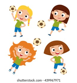 Vector illustration of little girls in shirt and short playing football. Set of cute cartoon kids kicking soccer ball isolated on white background. Football players. Collection of happy children.
