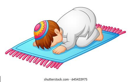 Vector illustration of little kid prostration for praying of muslim