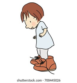 Vector illustration of little kid wearing daddy's big brown leather shoes. Cartoon character drawing style. Isolated on white background.