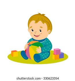 vector illustration of little lovely baby boy, playing with ball and cubes