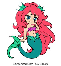 Vector illustration with little mermaid in anime style.