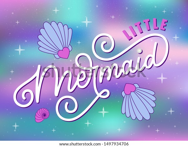 Vector Illustration Little Mermaid Quote Little Stock Vector ...