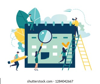 vector illustration. little people characters make an online schedule in the tablet. design business graphics tasks scheduling on a week - Vector