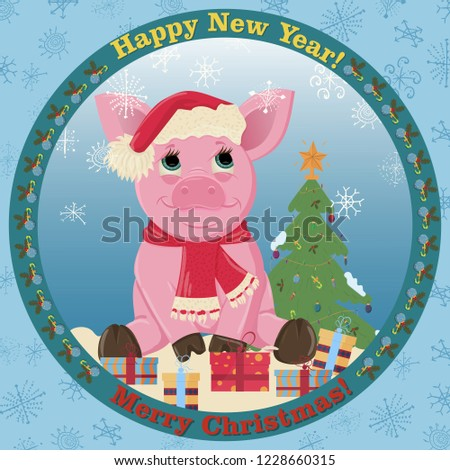 c9df27d029fa6 vector illustration of a little pink pig in a Santa Claus hat and a scarf  around the neck symbol of the new 2019 Chinese calendar