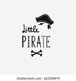 Vector illustration Little pirate lettering with pirate's hat and bones. Kids logo emblem. Textile fabric print