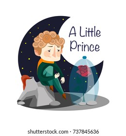 Vector illustration. A little Prince. Rose.  Flowers friend.