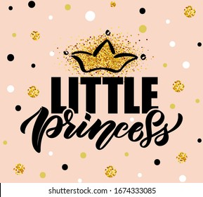 Vector illustration of Little Princess text for girls clothes. Princess badge, tag, icon. T-shirt design, card, banner template. Girl calligraphy background. Little Girl lettering typography