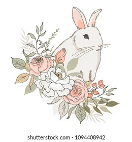 Vector illustration. Little rabbit and bouquet of flowers. A lovely, gentle composition in pastel colors