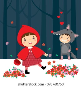 Vector illustration of little red riding hood and gray wolf
